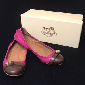 Coach Delphine Pink and brown  flats size 7.5